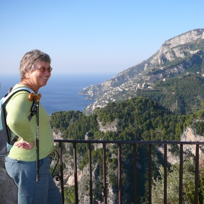 Looking out at the view over the Amalfi Coast