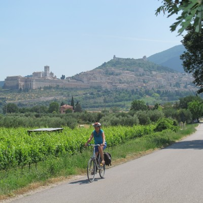 Leaving Assisi on a bike