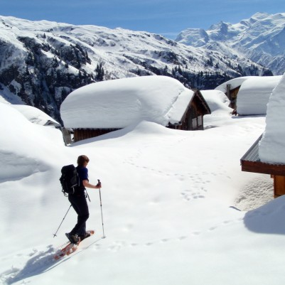 Solo traveller snowshoeing in Mont Blanc