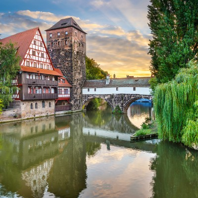 Nuremberg, Germany at Hangmans Bridge over the Pegnitz River.