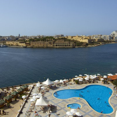 Harbour view from rear of Excelsior Grand Hotel Malta