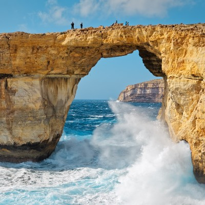 Rough seas at Azure Window in Gozo, Malta