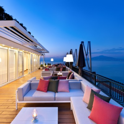 Stunning sea views on the terrace at the Hotel Continental, Sorrento