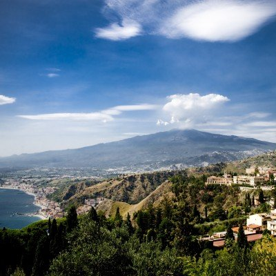 A view of Mount Etna during the day