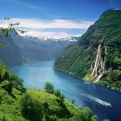 The view from Skagefla fjord farm in the Geirangerfjord