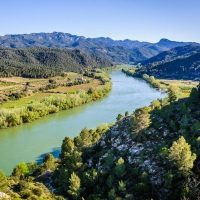 View of the Ebro River from the Miravet Castle, Spain